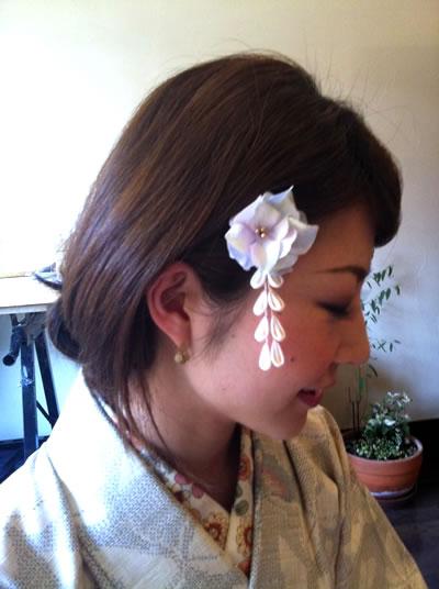 紫陽花のヘアピン1